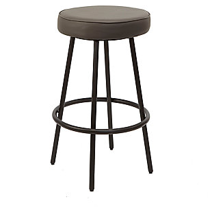 "Louis 29"" Upholstered Round Backless Metal Barstool, , large"
