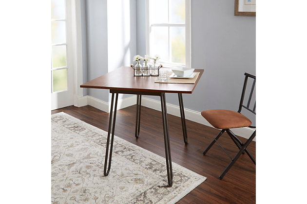 Toriano Drop Leaf Table with Hairpin Legs, , large