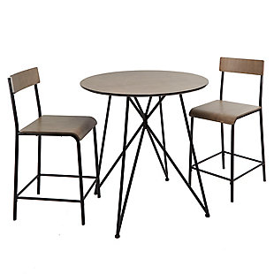 Trevi Metal Wood 3-Piece Pub Height Dining Set, , large