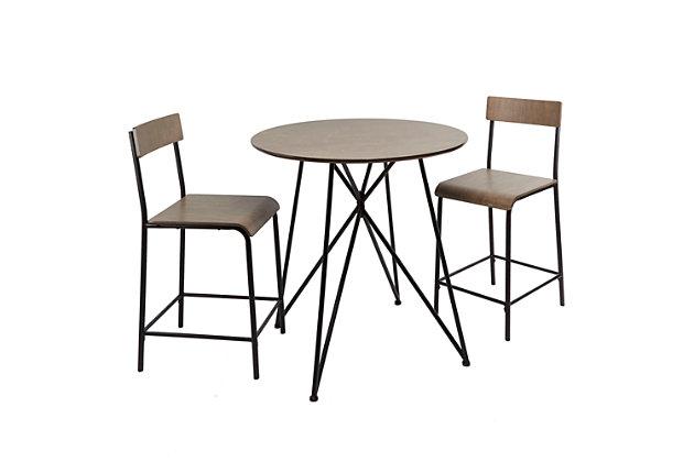 Trevi Metal Wood 3-Piece Pub Height Dining Set, , large