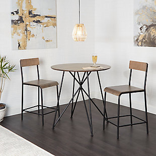 Trevi Metal Wood 3-Piece Pub Height Dining Set, , rollover