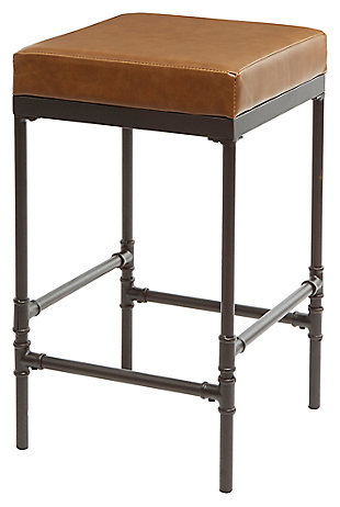 Valria Pipe Fitting Upholstered Counter Stool, Cognac, large