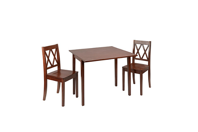 Verdana 3-Piece Drop Leaf Dining Set with Decorative Back Chairs, , large