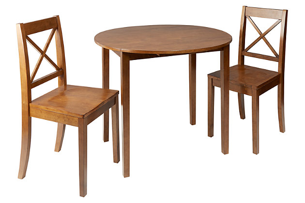 Warren 3-Piece Drop Leaf Dining Set with X-Back Chairs, , large