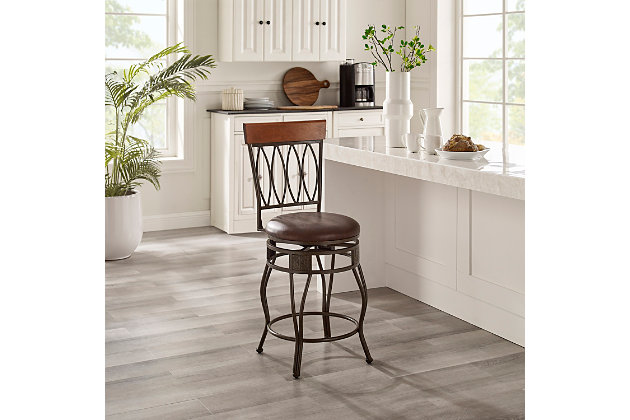Tabitha Four Oval Back Counter Stool, Brown, large