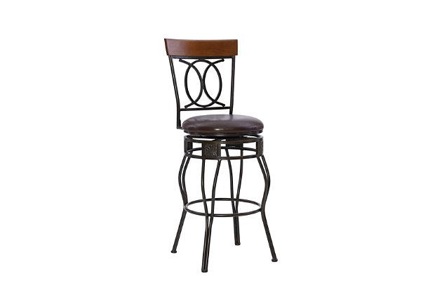 Fortunato O & X Back Bar Stool, Brown, large