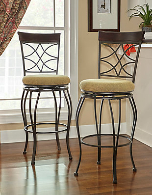 Lombardi Curves Counter Bar Stool, Brown, large