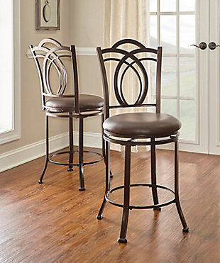 Gardenia Calif Metal Counter Stool, Brown, rollover