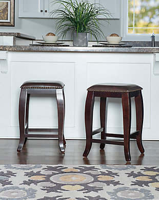 Margarite San Francisco Square Top Counter Stool, Dark Brown, rollover