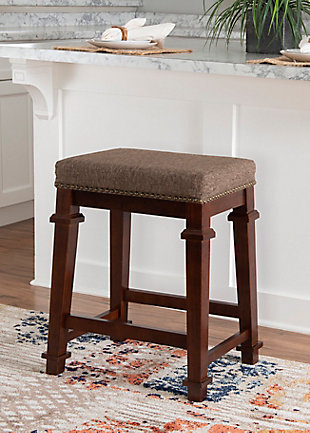 Kennedy Backless Tweed Counter Stool, Brown, rollover