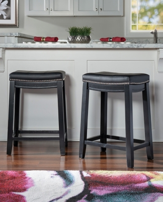 Backless Claridge Black Counter Stool, Black, large