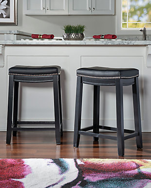 Backless Claridge Black Counter Stool, Black, rollover