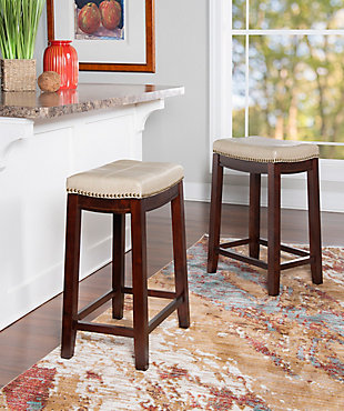 Backless Claridge Beige Counter Stool, Beige, rollover