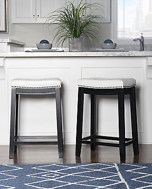 Backless Patches White Counter Height Bar Stool, , rollover