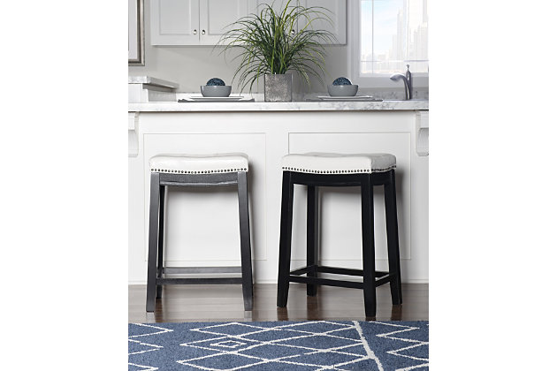 Backless Patches White Counter Height Bar Stool Ashley