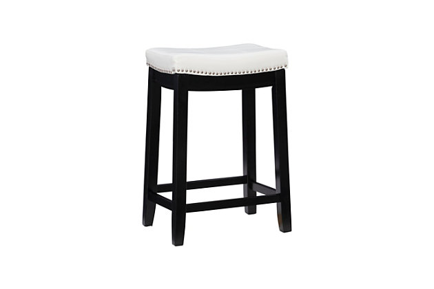 Backless Patches White Counter Height Bar Stool, White, large