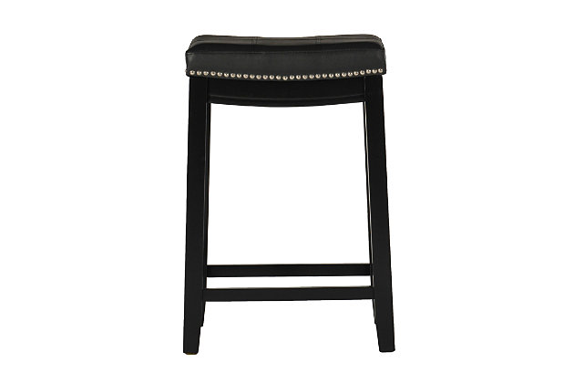 Backless Claridge Black Bar Stool, Black, large