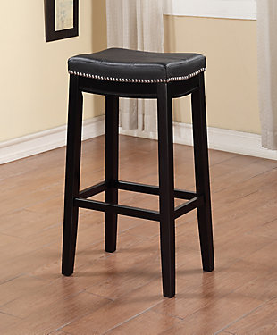 Backless Claridge Black Bar Stool, Black, rollover
