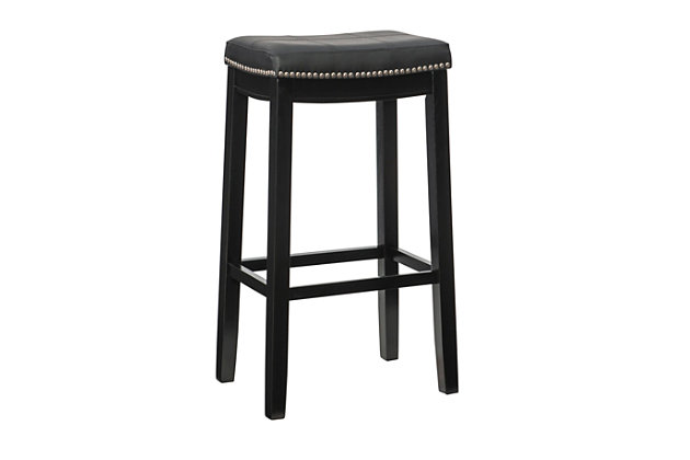 Backless Claridge Black Bar Stool, Black, large