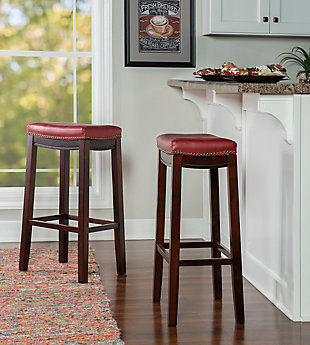 Backless Claridge Red Bar Stool, Red, large