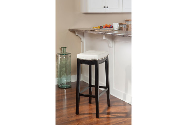 Backless Claridge Blue Bar Stool, Dark Brown, large