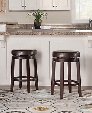 Maya Round Counter Stool, Brown, rollover