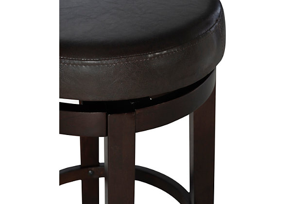 Maya Round Bar Stool, Brown, large