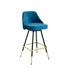 Warren Mid-Century Swivel Barstool, Electric, large