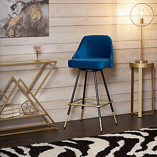 Warren Mid-Century Swivel Barstool, Electric, rollover