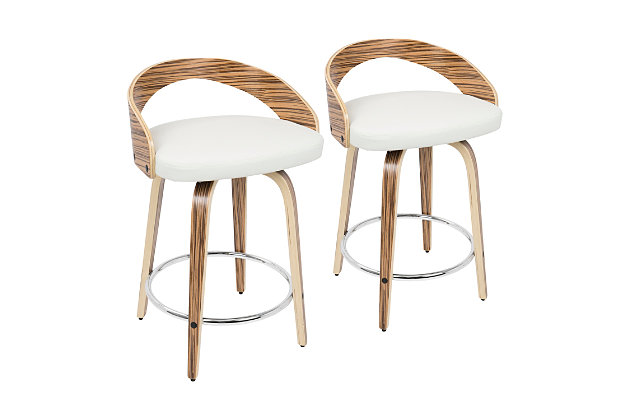 Howie Swivel Counter Stool (Set of 2), Black/White/Chrome, large