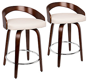 Howie Swivel Counter Stool (Set of 2), Cherry/White/Chrome, large