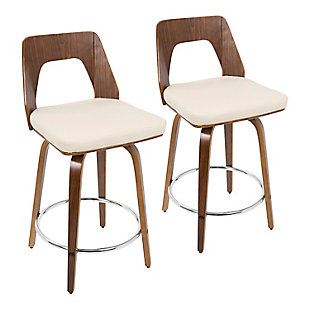 Trilogy Counter Height Barstool (Set of 2), Walnut/Cream/Chrome, rollover