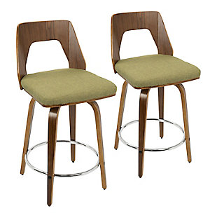 Trilogy Counter Height Barstool (Set of 2), Walnut/Pea/Chrome, large