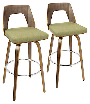 Trilogy Upholstered Barstool (Set of 2), Walnut/Pea/Chrome, large