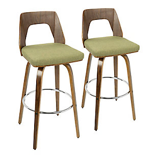 Trilogy Upholstered Barstool (Set of 2), Walnut/Pea/Chrome, rollover