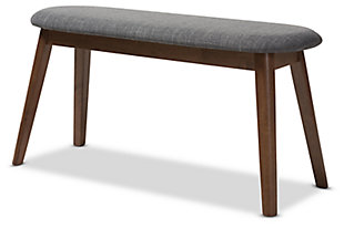 Mid Century Modern Upholstered Wood Bench, Walnut/Charcoal, large