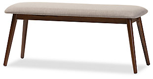 Mid Century Modern Upholstered Wood Bench, , large
