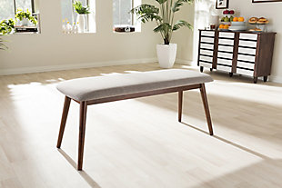 Mid Century Modern Upholstered Wood Bench, , rollover
