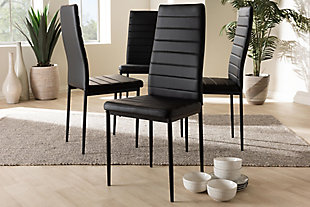 Faux Leather Upholstered Dining Chair (Set of 4), Black, large