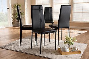 Faux Leather Upholstered Dining Chair (Set of 4), Black, rollover