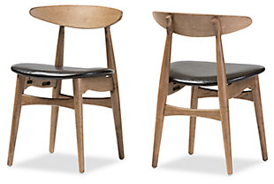 Mid Century Modern Dining Chair (Set of 2), Black/Oak, rollover