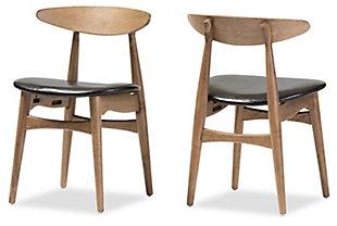 Mid Century Modern Dining Chair (Set of 2), Black/Oak, rollover