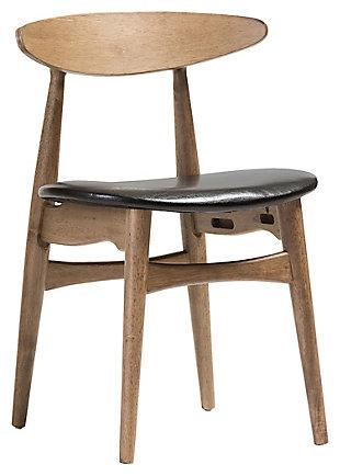 Mid Century Modern Dining Chair (Set of 2), Black/Oak, large