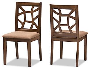 Asymmetrical Modern Dining Chair (Set of 2), Walnut, large