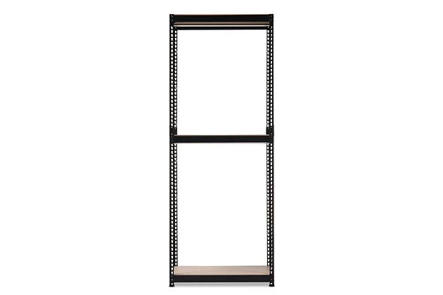 Metal 3-Shelf Closet Storage Organizer, Black, large
