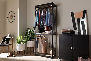 Metal 3-Shelf Closet Storage Organizer, Black, rollover