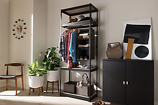 Metal 4-Shelf Closet Storage Organizer, Black, rollover