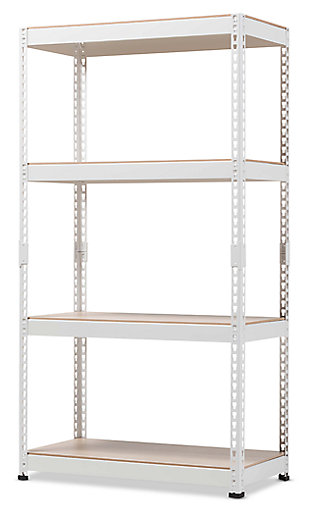 Metal 4-Shelf Closet Storage Organizer, White, large