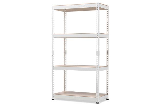 Metal 4-Shelf Closet Storage Organizer, White, large