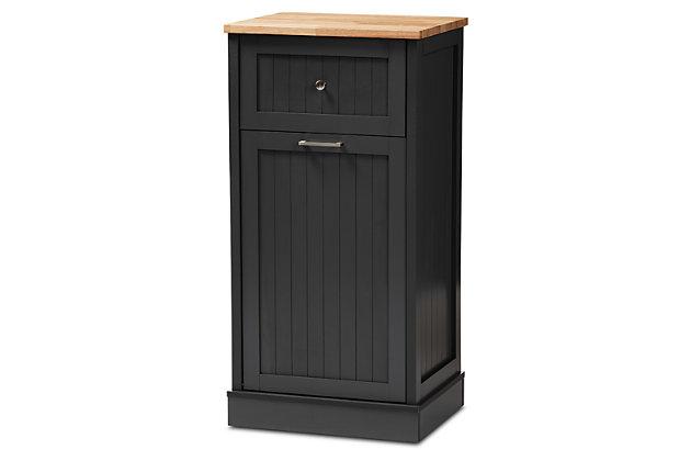 Modern Kitchen Cabinet, Charcoal/Oak, large